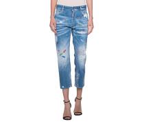 Boyfriend 7/8 Jeans mit bunten Prints