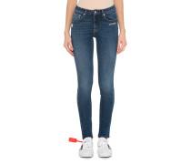 Skinny Jeans mit Label-Emblem