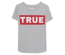 Meliertes Baumwoll-T-Shirt mit Logoprint