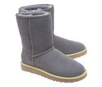 Lammfell-Boots mit Neon-Detail