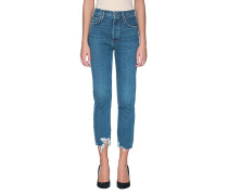 High Waist Straight Cropped Jeans