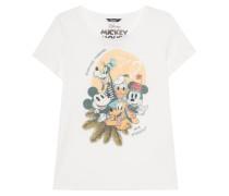 Bedrucktes T-Shirt mit Strass-Verzierung