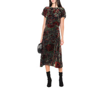 Florales Seiden-Midi-Kleid