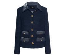 Boucle-Jacke mit Samt-Kragen