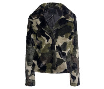 Camouflage Kunstfell-Jacke