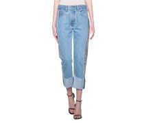 High-Waist Jeans mit Pailetten