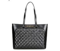 Shiny Quilted Handtasche schwarz