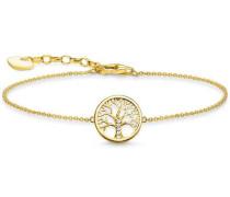 Tree of Love Armband gold/weiß