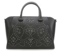 Studs Embroidery Handtasche schwarz