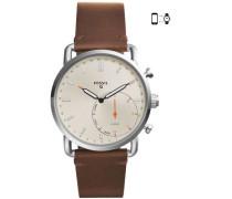 Q Commuter Hybrid-Smartwatch silber/beige