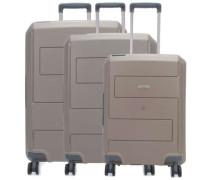 Makro 4-Rollen Trolley Set taupe 3-tlg.