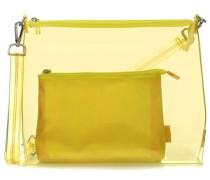 Transparent 2tlg Schultertasche gelb