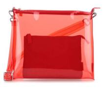 Transparent Umhängetasche 2tlg Schultertasche rot