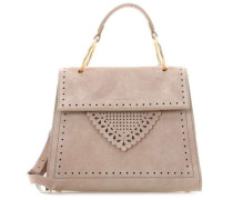 B14 Lace Suede Schultertasche taupe