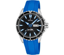 Diver Quarzuhr silber/blau