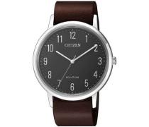 Leather Quarzuhr silber/grau