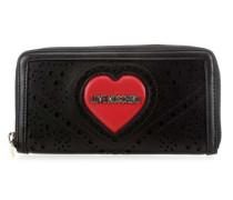 Heart Embroidery Geldbörse schwarz