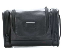 Alpha Travel Leather Kulturbeutel schwarz 30 cm
