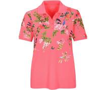 Piqué-Poloshirt mit Blumen