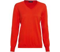 V-Pullover mit Leo-Patches