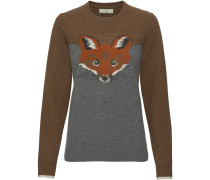Jacquard-Pullover mit Fuchsmotiv