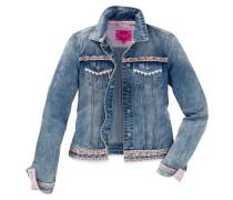 Jeansjacke mit Bordüre