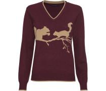 V-Pullover mit Eichhörnchenmotiv