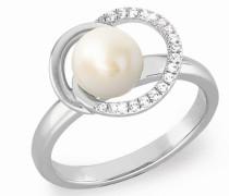 Ring Ring mit Perle und Zirkonia rhodiniert, Silber 925 Weiß