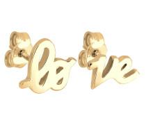 Ohrringe Love Statement Schriftzug Liebe Silber vergoldet