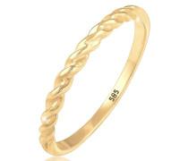 Ring Basic Geo Twisted Gedreht Bandring 585 Gelbgold