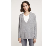V Pullover aus Royal Baby Alpaka Mix grey heather melange