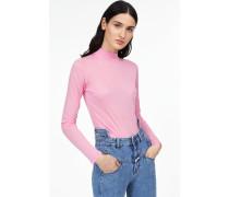 Luxury Basic Langarmshirt mit Stehkragen flamingo pink