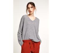 V-Pullover aus reinem Cashmere grey heather melange