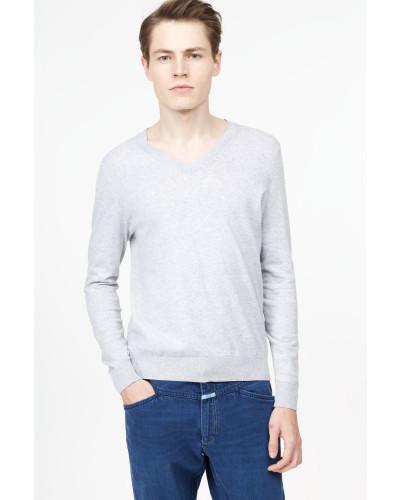 V-Pullover aus Baumwolle light grey melange