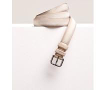 Veloursledergürtel mit Metallschließe light beige
