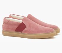 Slip Ons aus Veloursleder hot pink