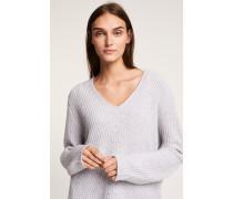 V-Pullover aus reinem Cashmere light grey melange