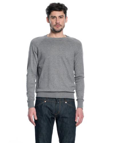 Rundhalspullover aus Baumwolle light grey melange