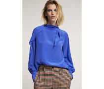 Bluse mit Stehkragen aus Crêpe de Chine japanese blue
