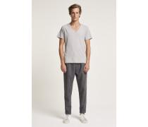 Basic V-Neck Shirt light grey melange
