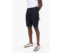 Pleated Shorts aus Baumwolle und Leinen navy