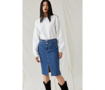 Colour Contrast Denim Skirt mid blue
