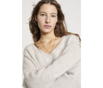 V-Pullover aus Royal Baby Alpaka Mix sandy