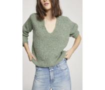 V-Pullover aus Alpaka Mix grass green