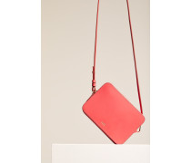 Boxy Ledertasche mit abnehmbarem Anhänger strawberry pink