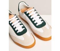 Sneaker aus Leder Mix navy
