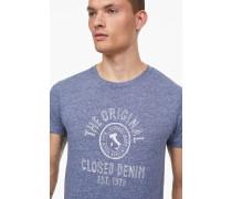 T-Shirt mit Print aus Melange Jersey indigo blue