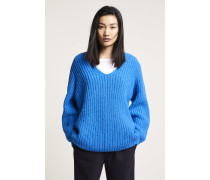V Pullover aus Royal Baby Alpaka Mix electric blue