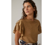 T-Shirt mit Volants aus Leinen golden oak