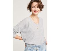 V-Pullover mit Cashmere light grey melange